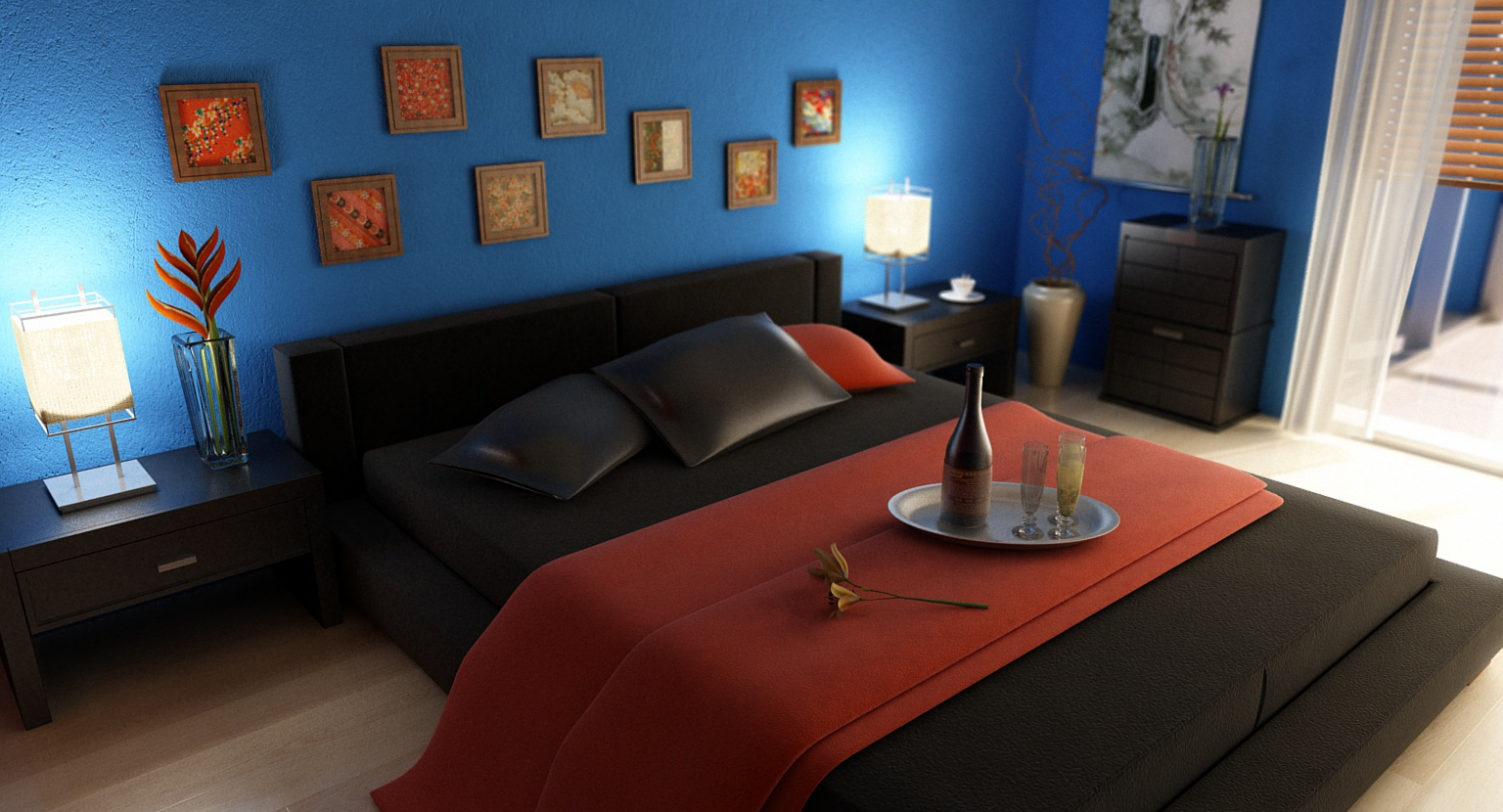 3d bedroom using 3d studio max vray check out and higher